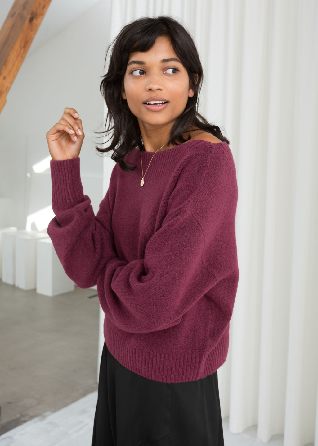 Model front image of Stories boatneck knit sweater in red