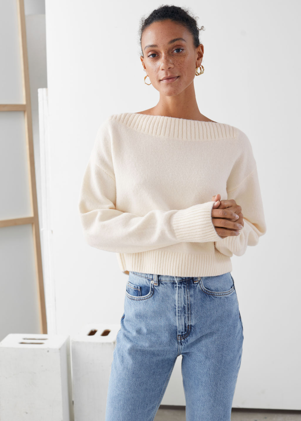 Model front image of Stories boatneck knit sweater in white