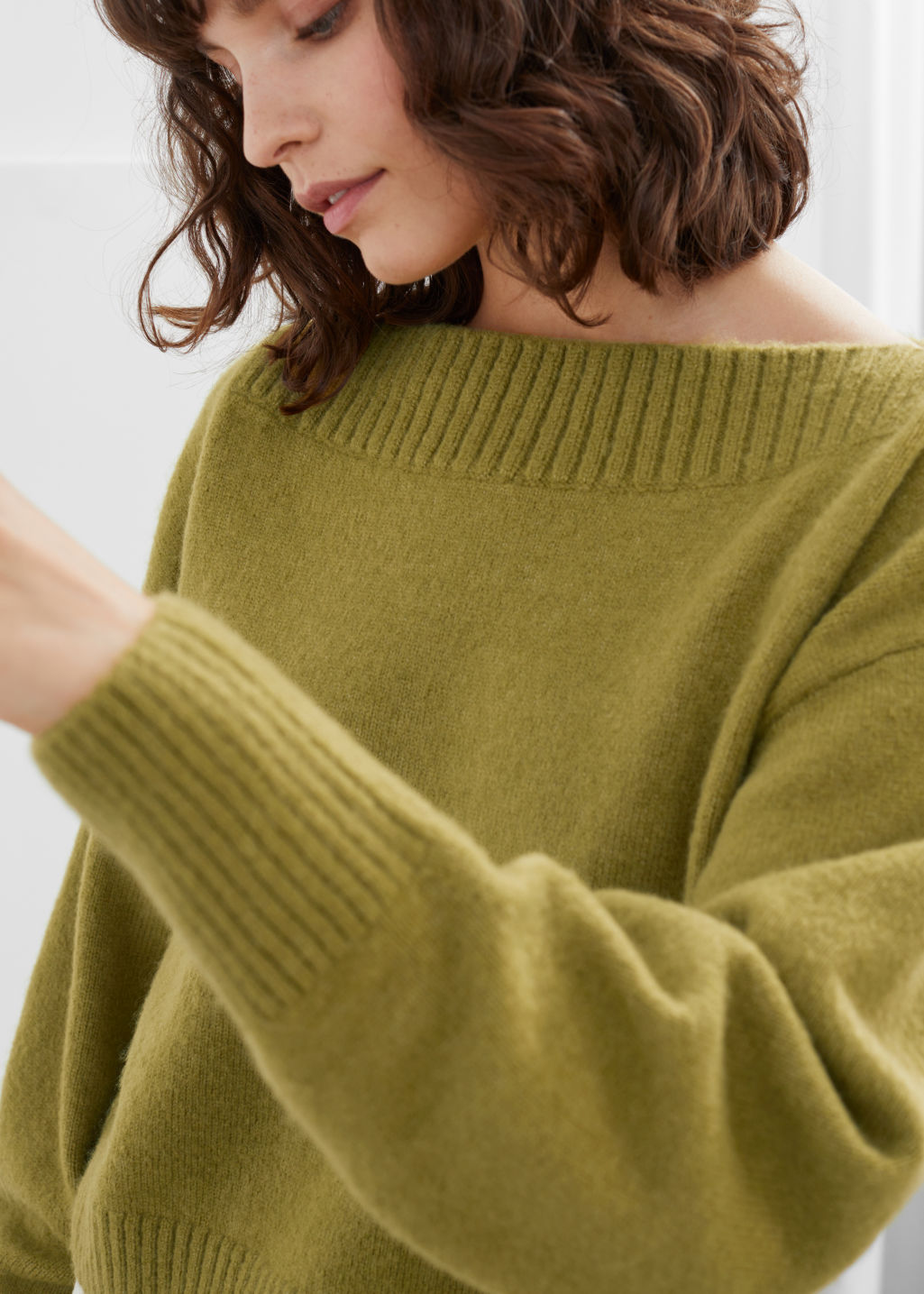 Model front image of Stories boatneck knit sweater in yellow