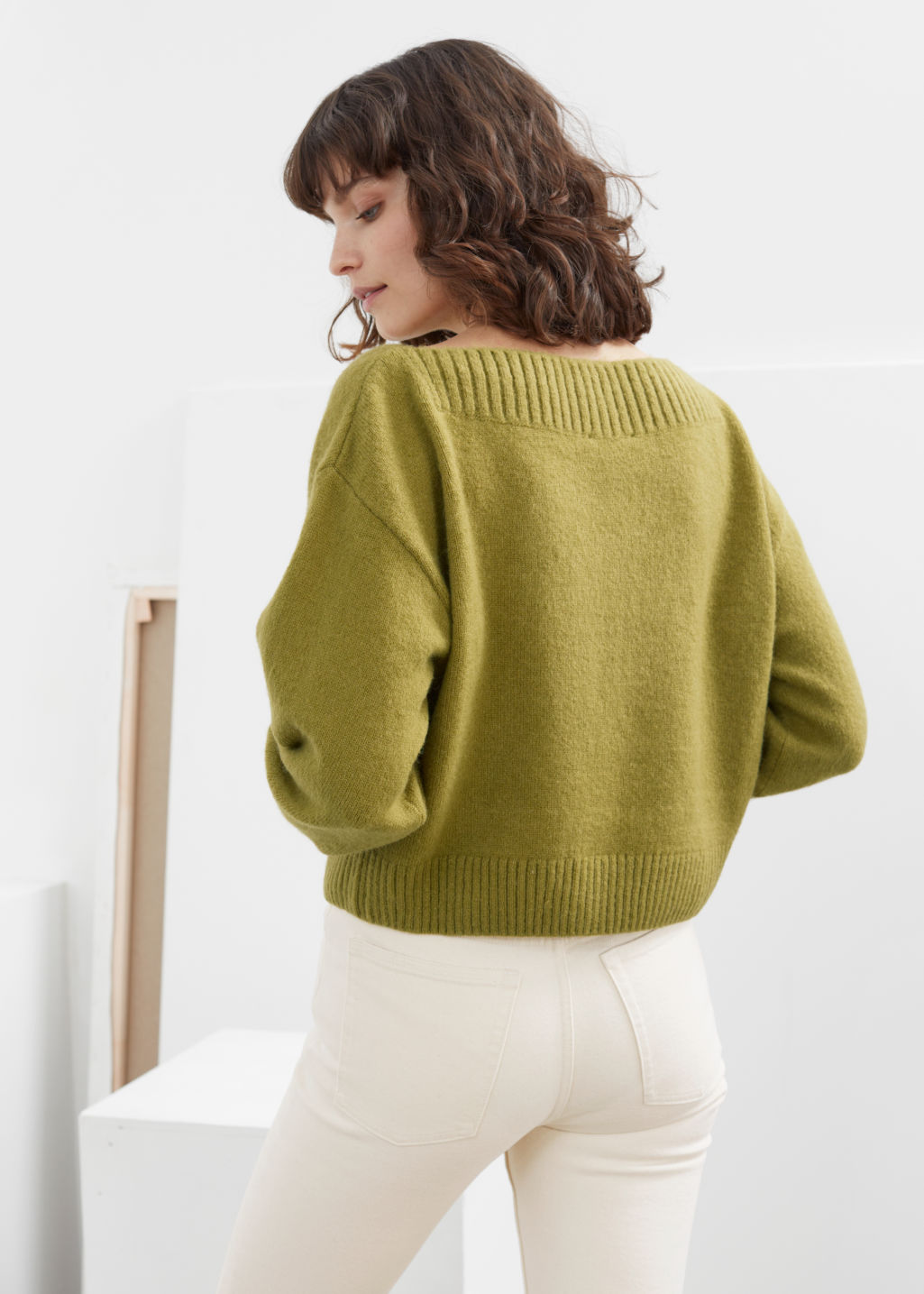 Model back image of Stories boatneck knit sweater in yellow