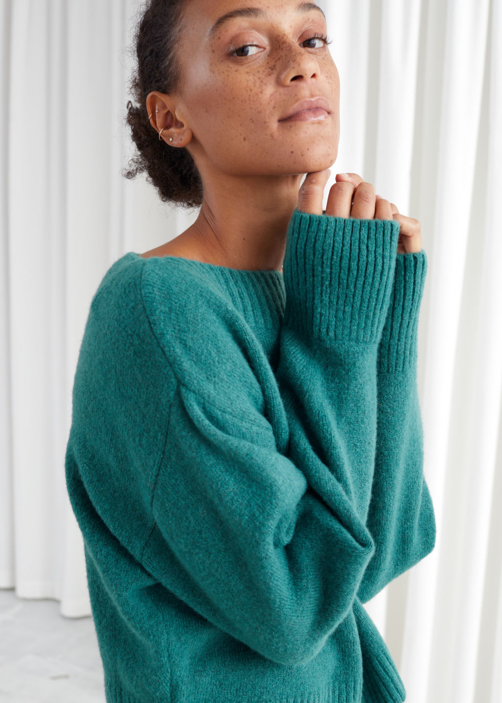 Model front image of Stories boatneck knit sweater in green