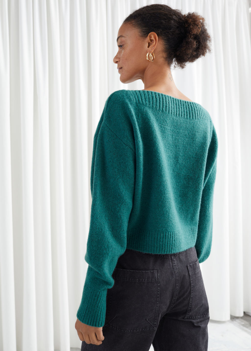 Model back image of Stories boatneck knit sweater in green