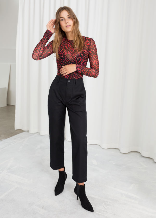 Cropped Twill Workwear Trousers