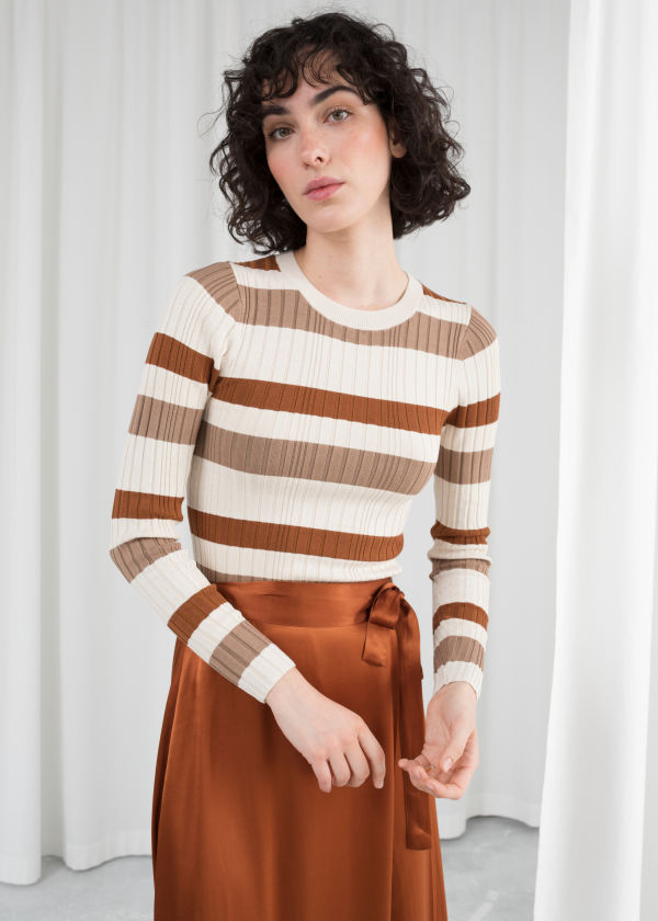 Fitted Striped Rib Top
