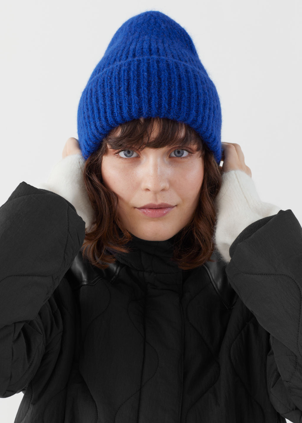 Model front image of Stories chunky ribbed wool blend beanie in blue