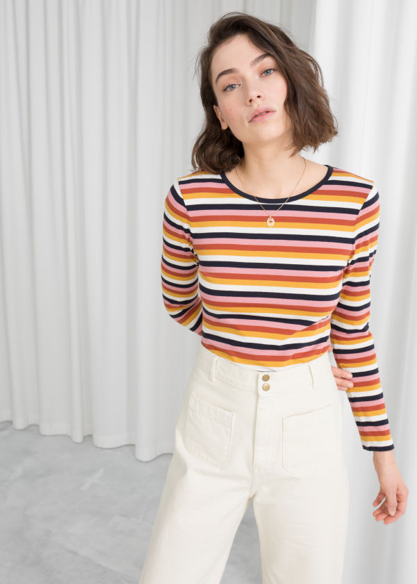 Long Sleeve Striped Cotton Tee