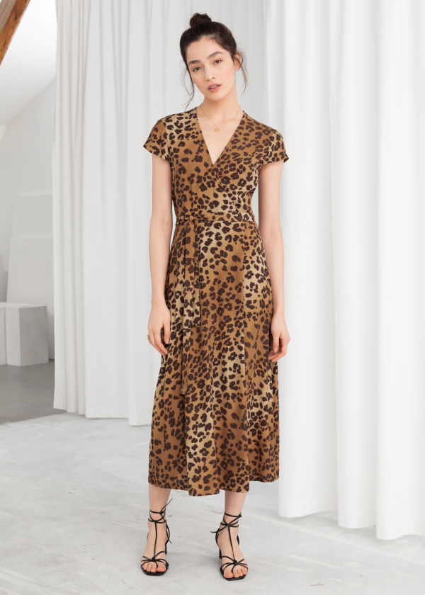 Leopard Midi Wrap Dress