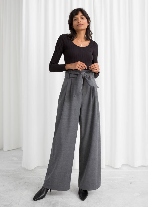 Belted Wool Blend Trousers