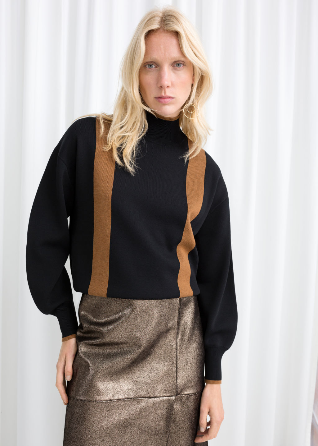 Model front image of Stories duo stripe turtleneck in black