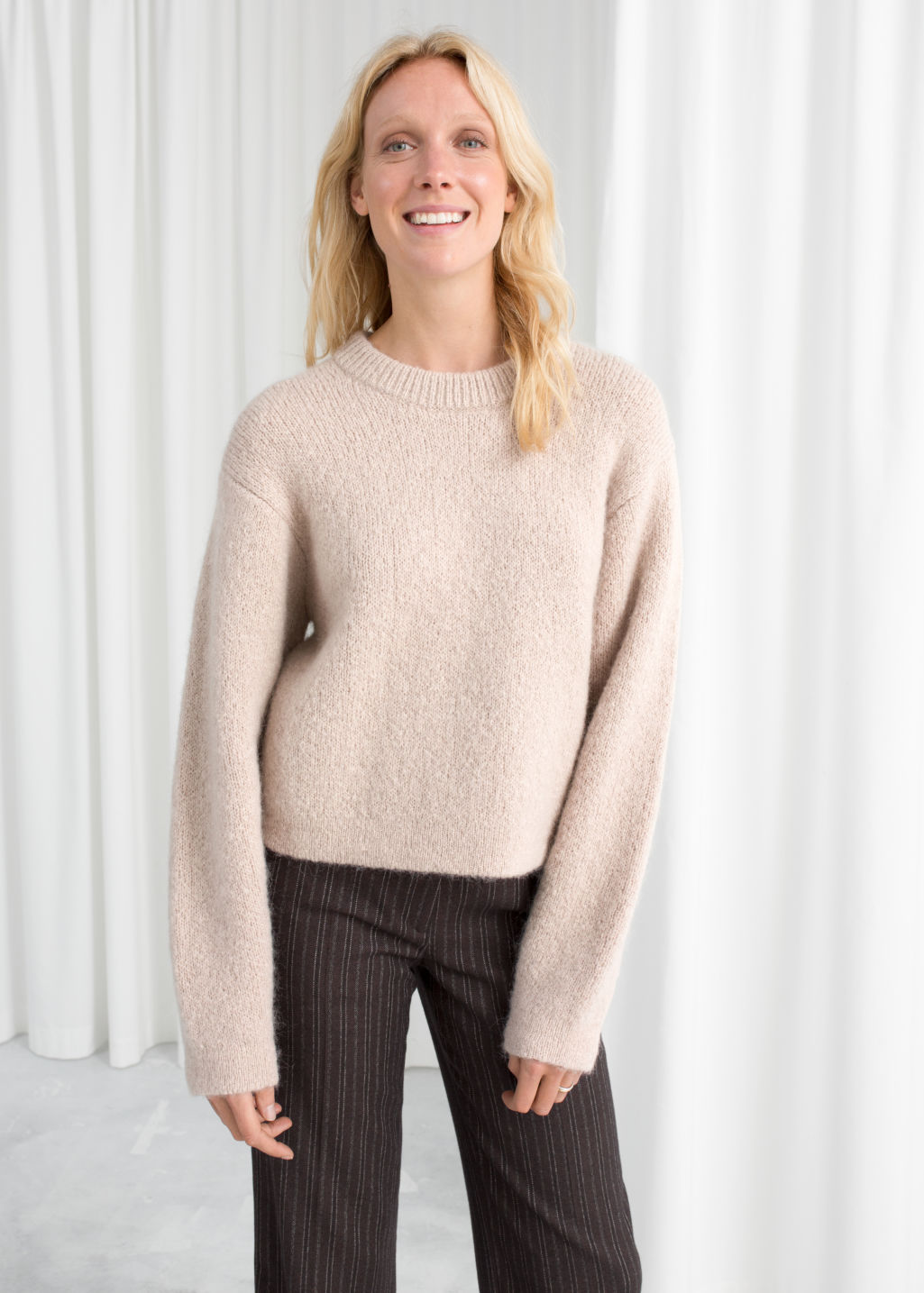 Model front image of Stories chunky jacquard knit sweater in brown