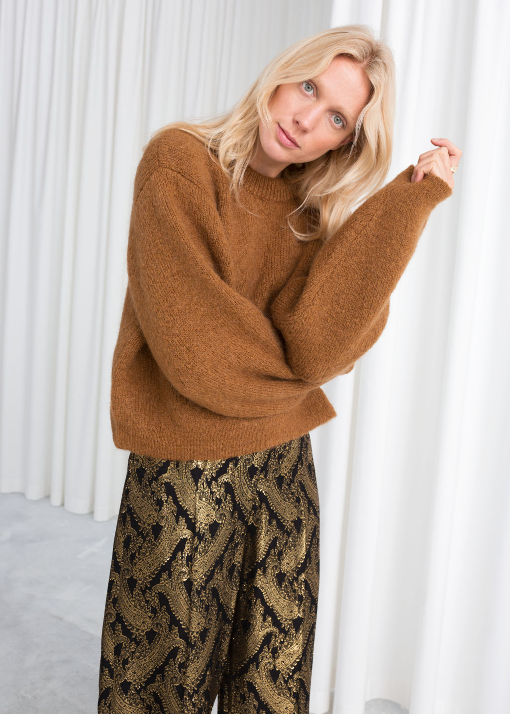 Model front image of Stories chunky jacquard knit sweater in beige