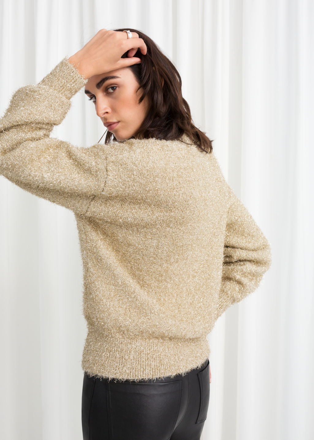 Model back image of Stories fuzzy metallic sweater in gold