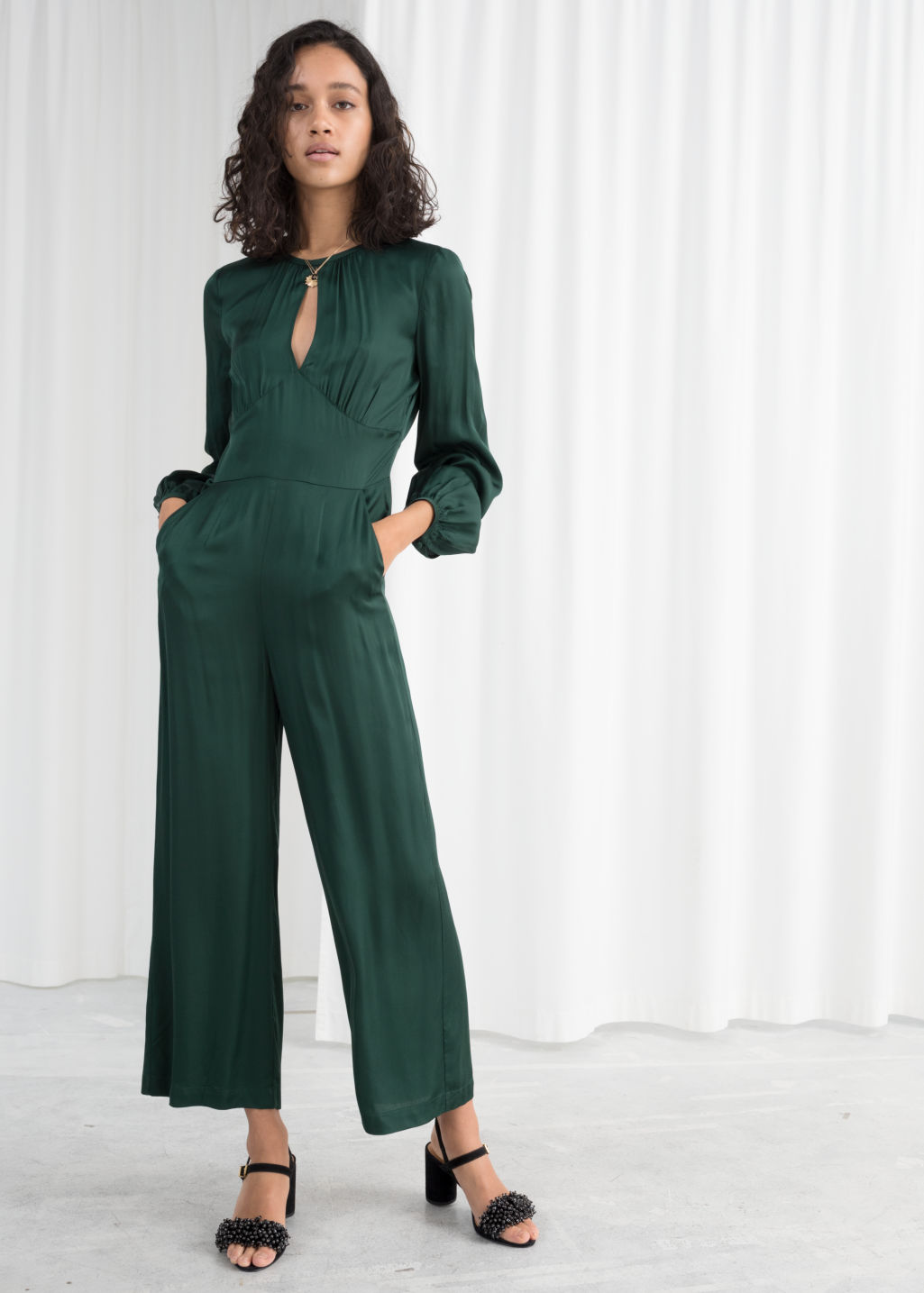 384b2579f185 Long Sleeve Satin Jumpsuit - Green - Jumpsuits   Playsuits -   Other ...