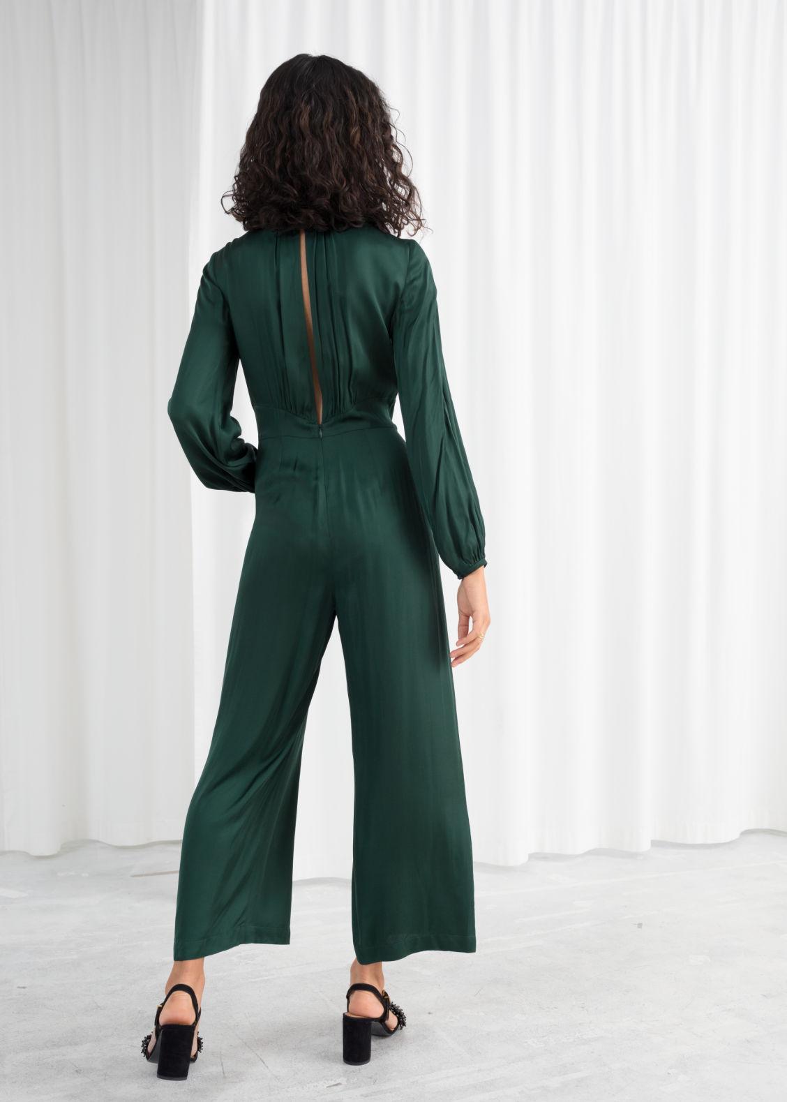 Long Sleeve Satin Jumpsuit Green Jumpsuits Amp Playsuits