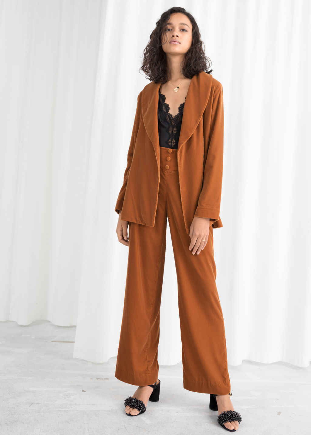 Model front image of Stories high waisted velvet trousers in orange