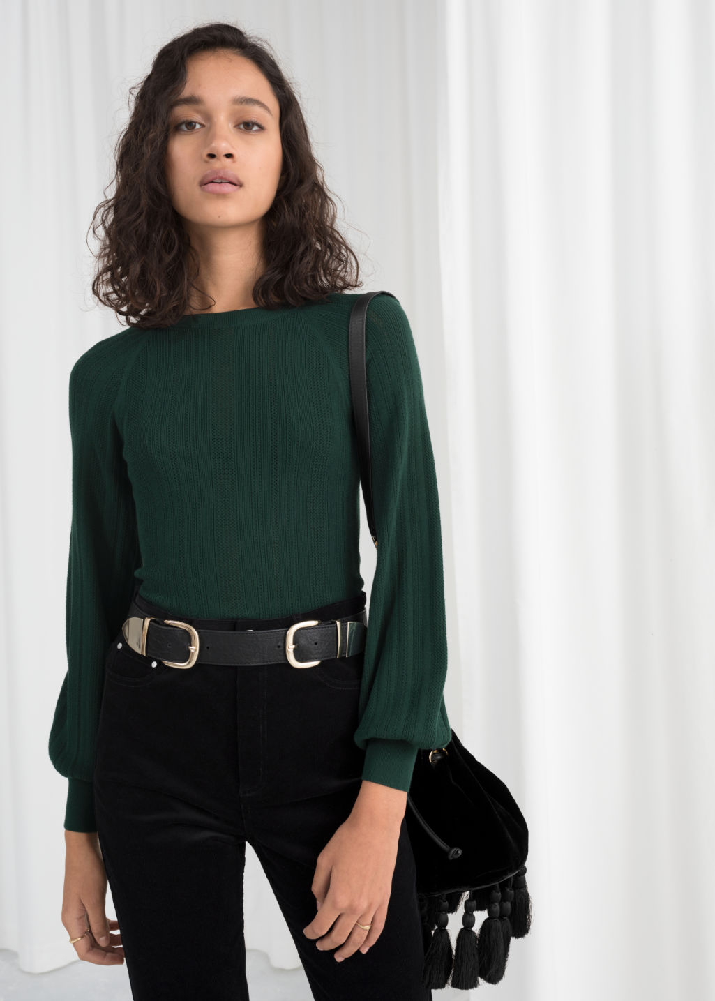 Model front image of Stories eyelet knit sweater in green