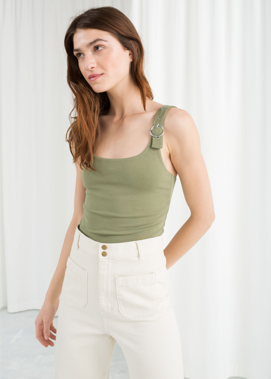 Model front image of Stories buckle strap tank top in green