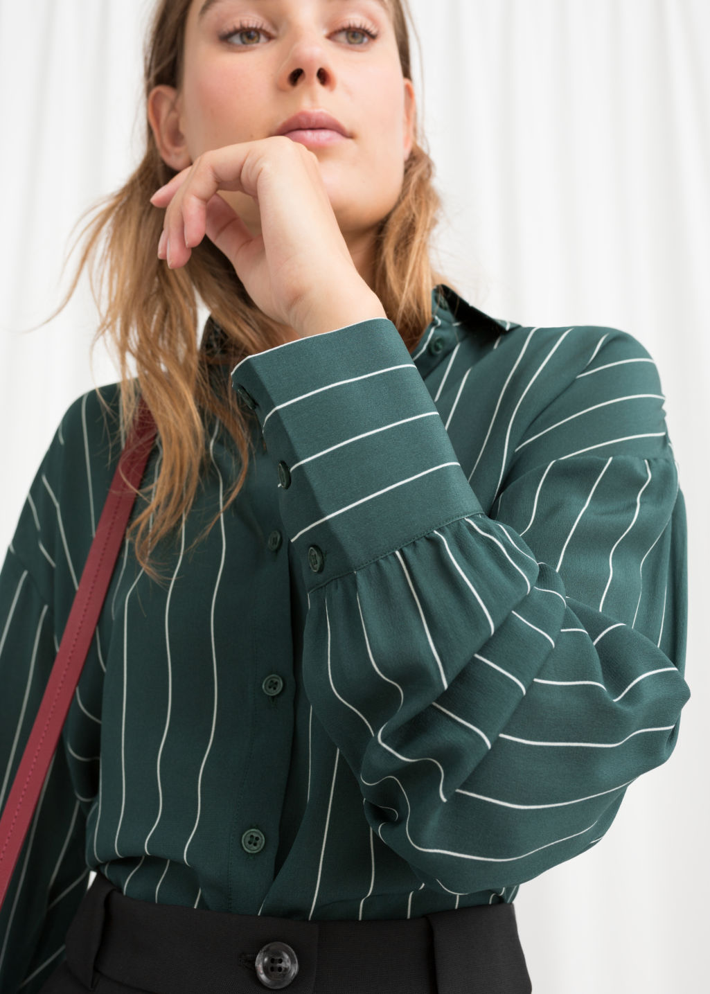 Model back image of Stories striped silk shirt in green