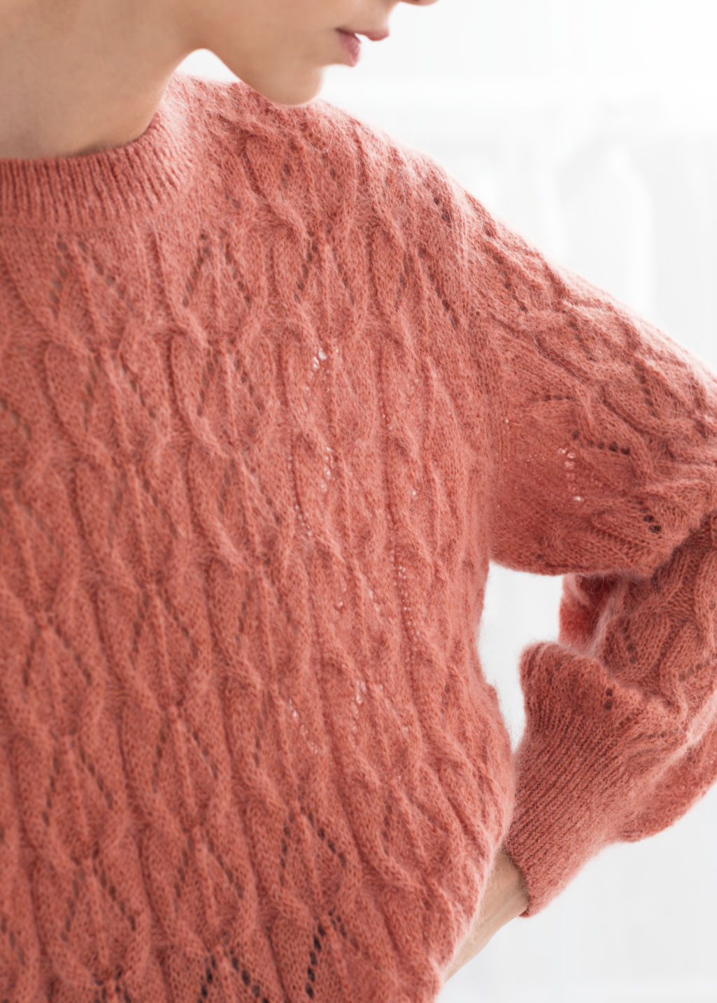d9347e842 Oversized Eyelet Knit Sweater - Salmon - Sweaters -   Other Stories
