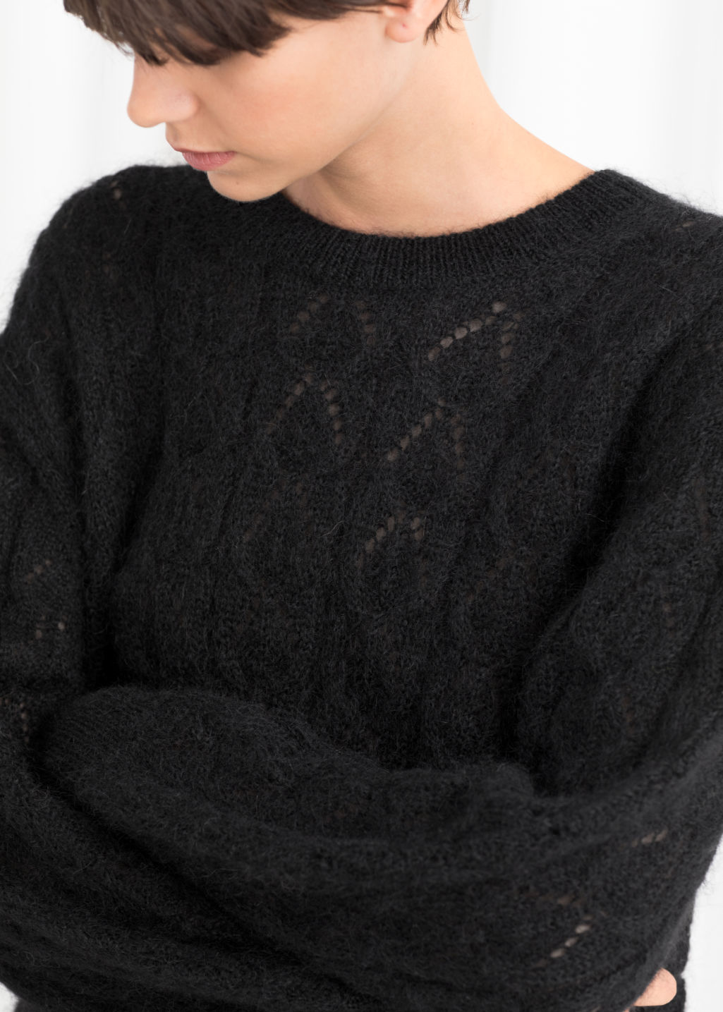 Sweatersamp; Oversized Knit Sweater Other Black Eyelet Stories 8w0knPOX