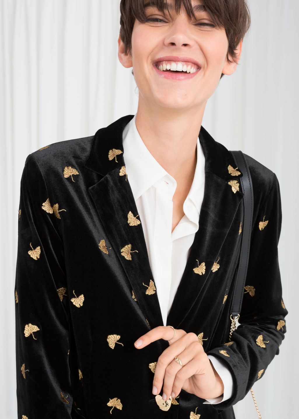 Model front image of Stories embroidered velvet blazer in black