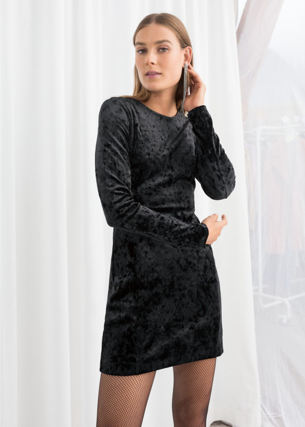Fitted Crushed Velvet Mini Dress