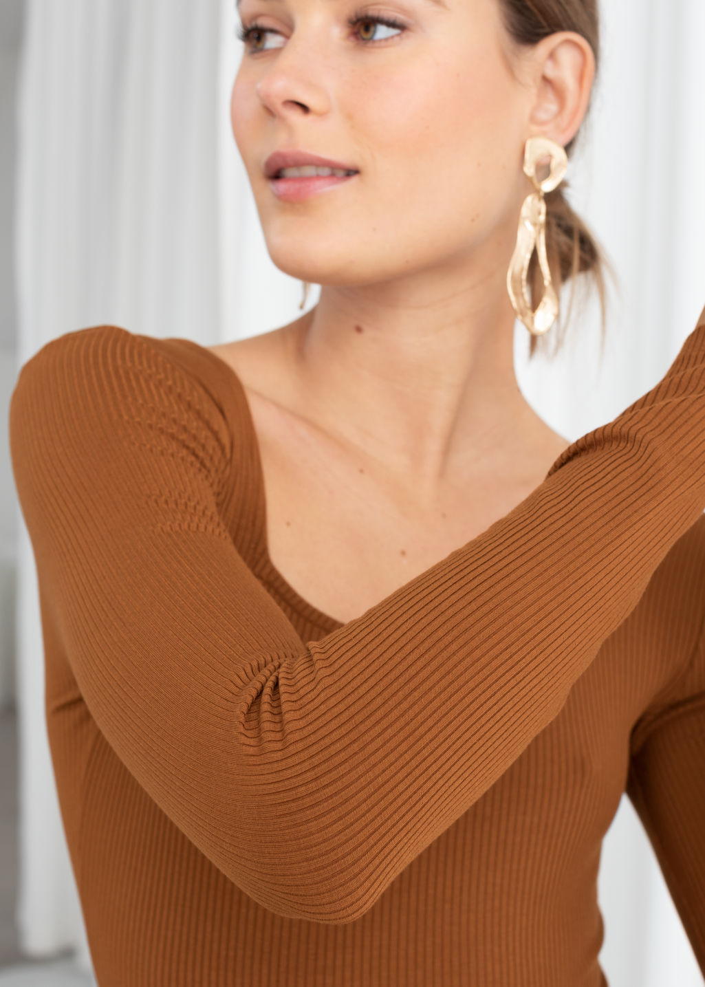 Model back image of Stories square neck bodysuit in beige