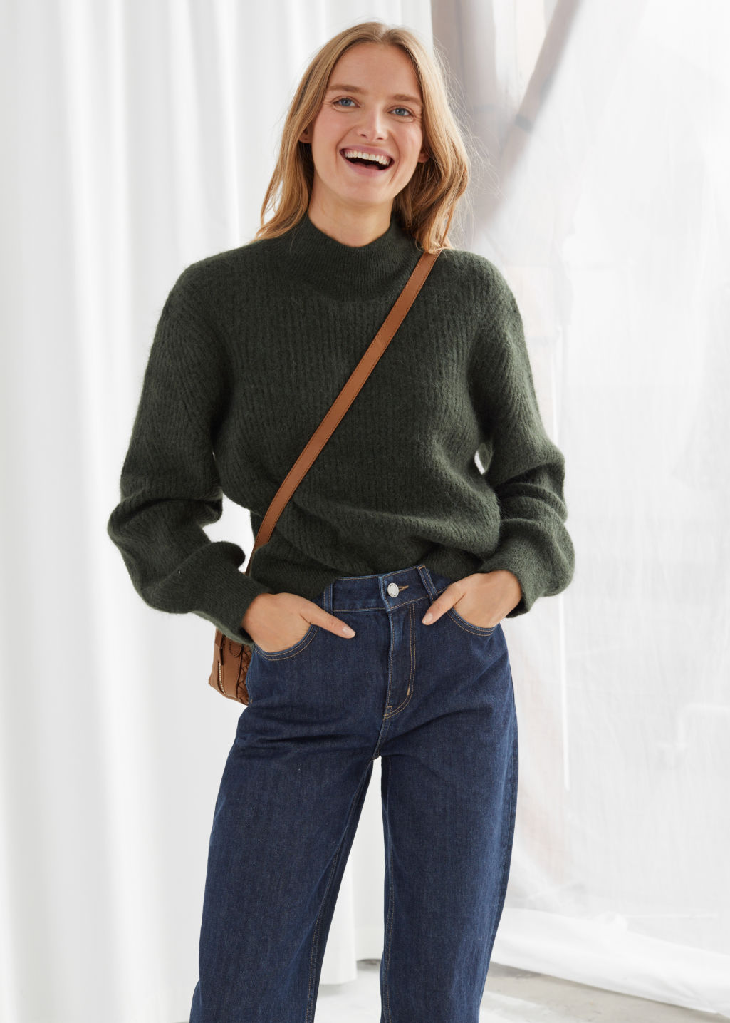 Model front image of Stories wool blend ribbed knit sweater in green