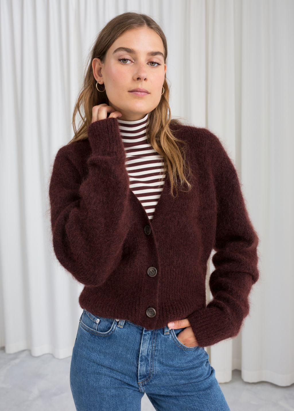 Model front image of Stories wool blend cardigan in brown