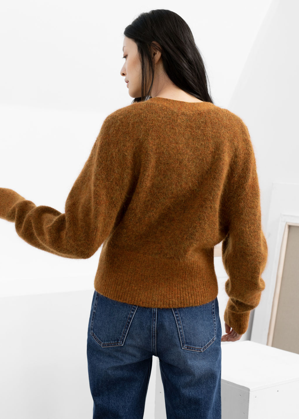 Model back image of Stories wool blend cardigan in orange