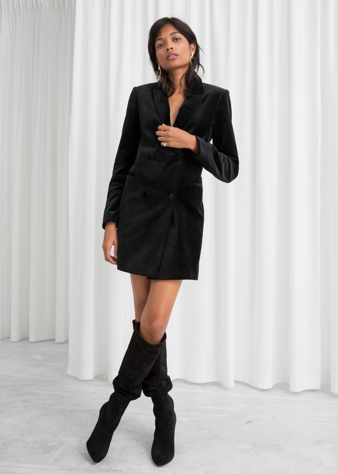 Model front image of Stories velvet blazer dress in black ... 1287bec82