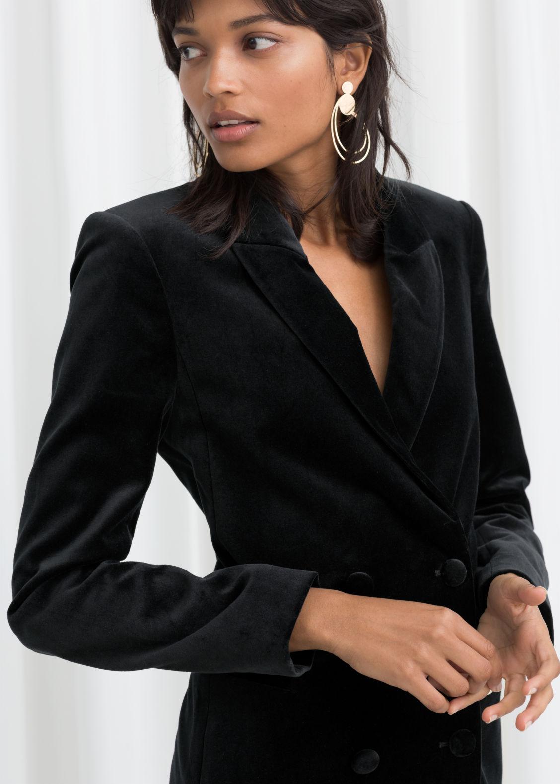Velvet Blazer Dress - Black - Mini dresses -   Other Stories 68daadebb