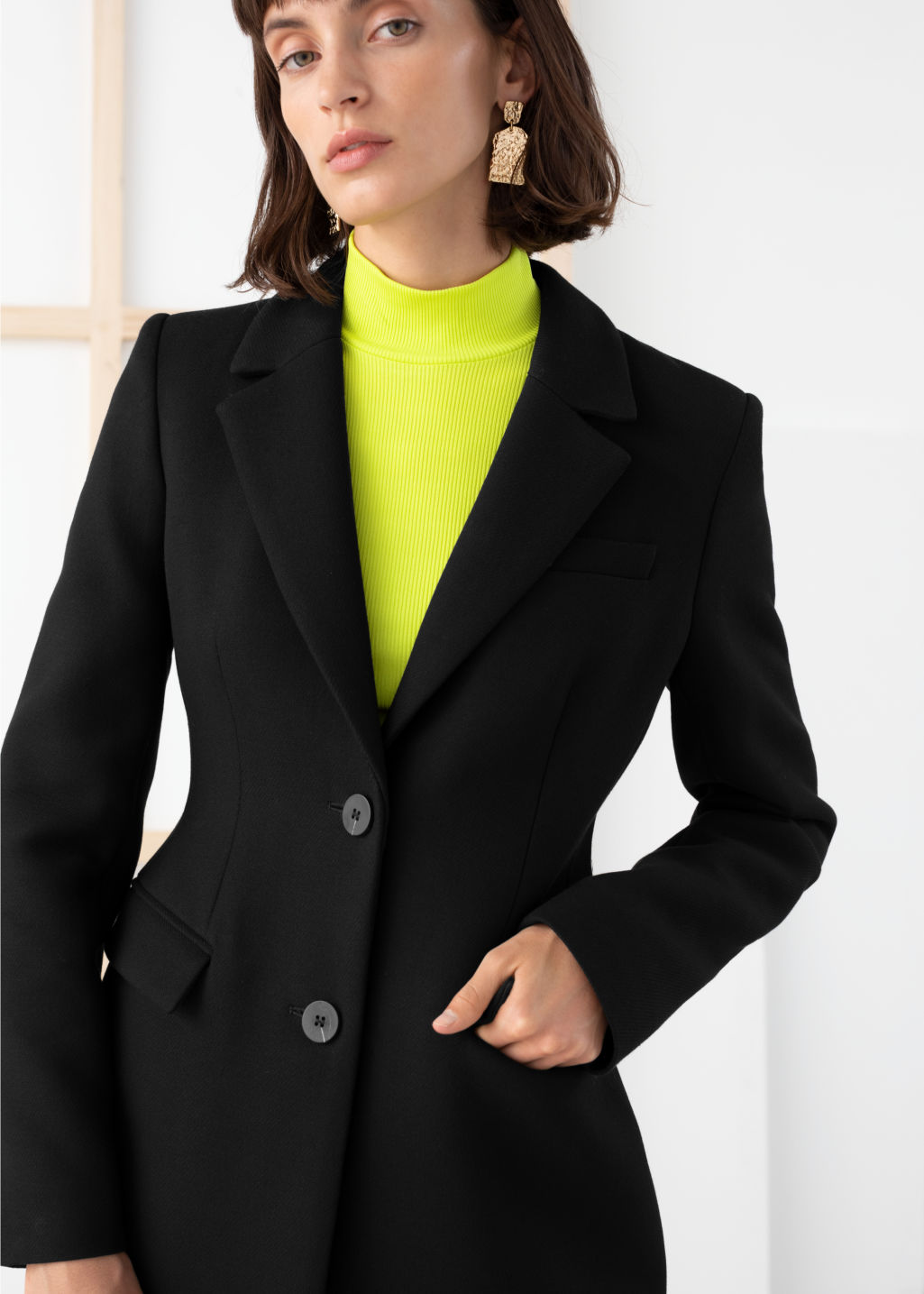 Model back image of Stories hourglass wool blend coat in black