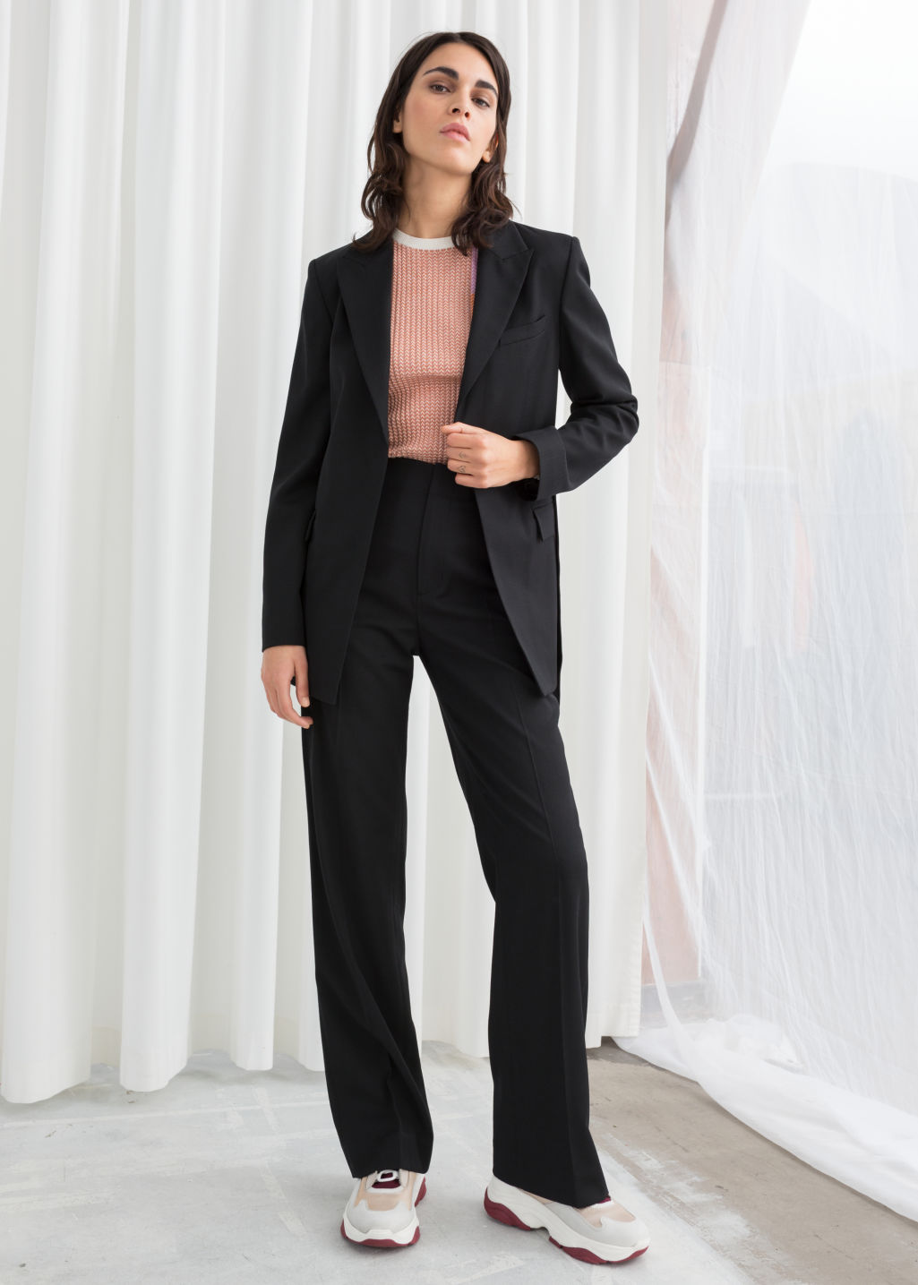 Model front image of Stories mid rise tailored trousers in black