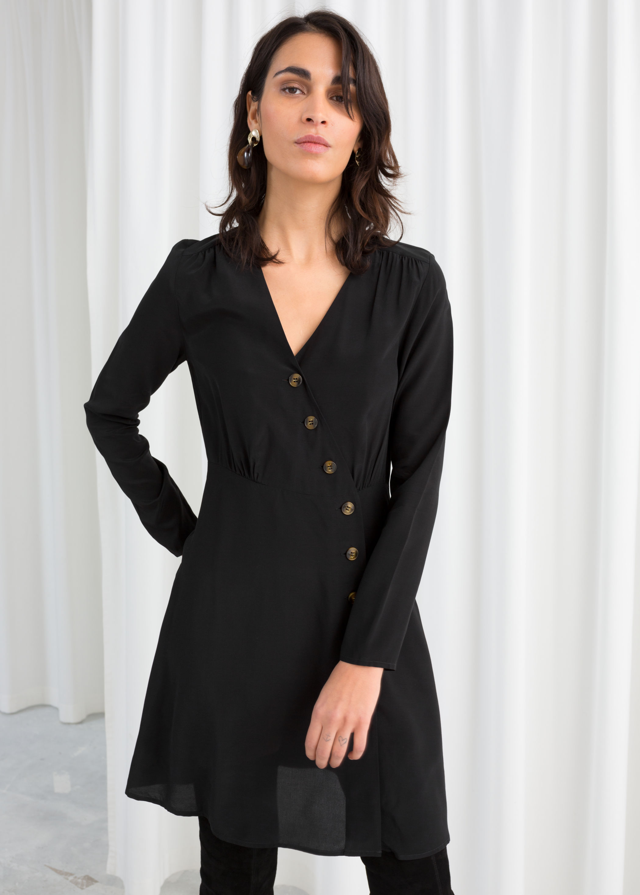 앤 아더 스토리즈 랩 원피스 & OTHER STORIES Asymmetric Button Up Wrap Dress,Black