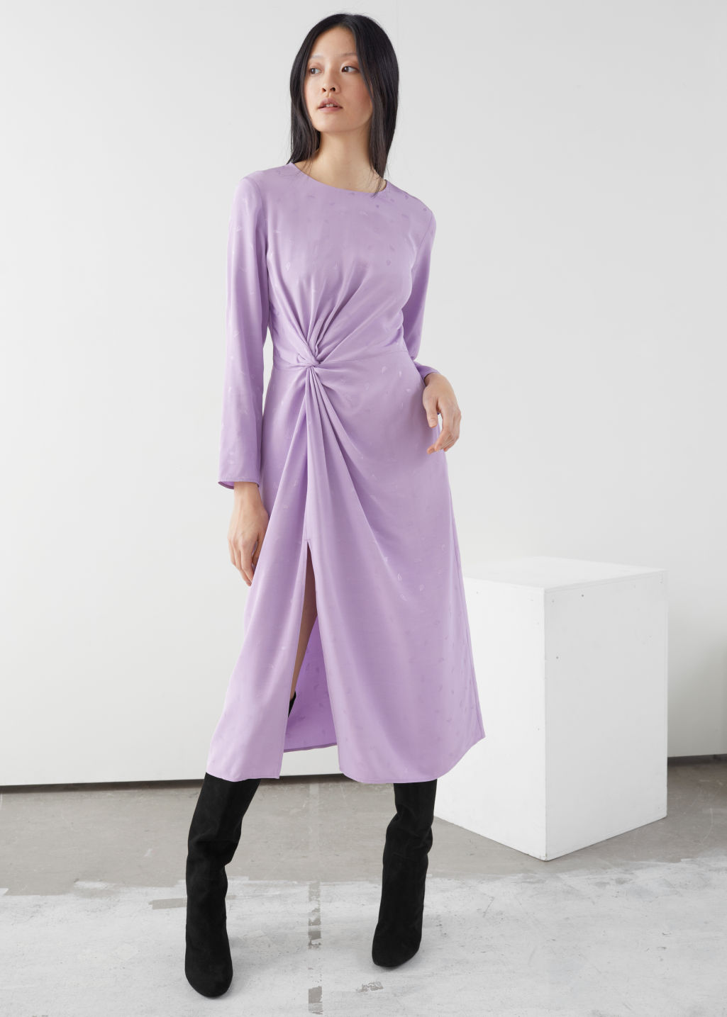 Model front image of Stories striped twist knot midi dress in purple