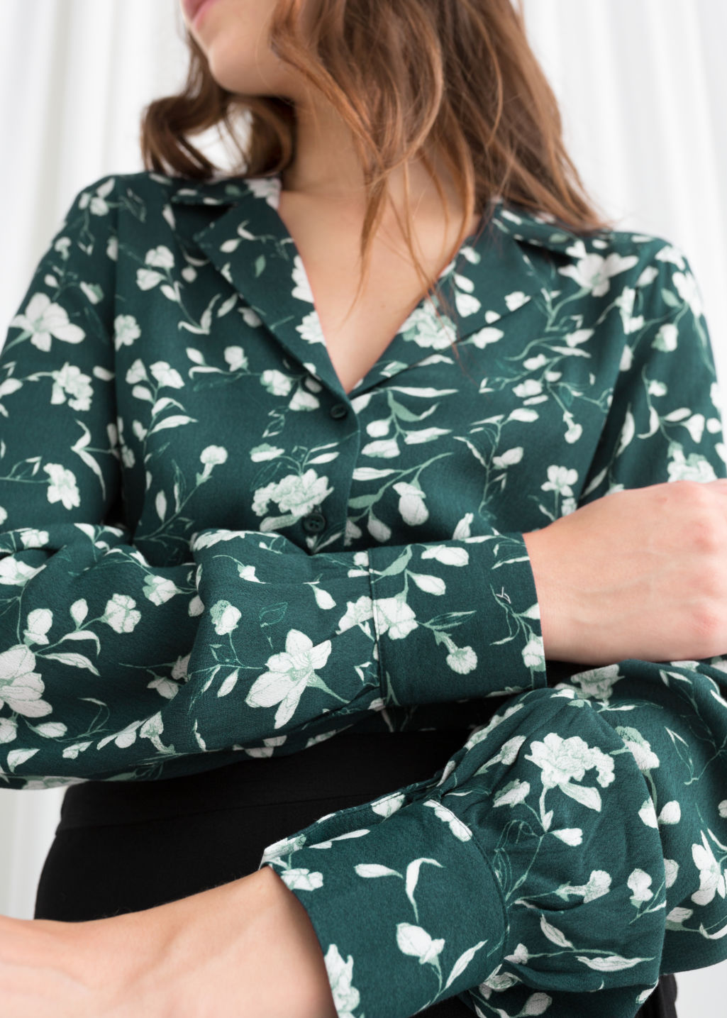 Model back image of Stories printed v-cut button down blouse in green