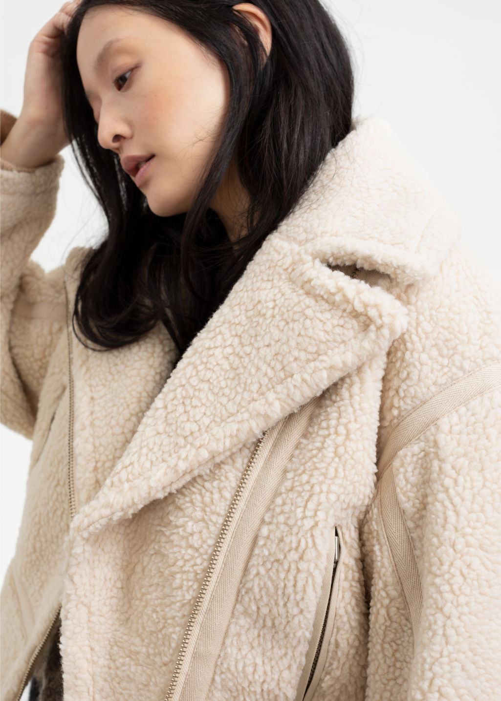 2360b4c2f5 Cropped Faux Shearling Jacket - Cream - Jackets -   Other Stories