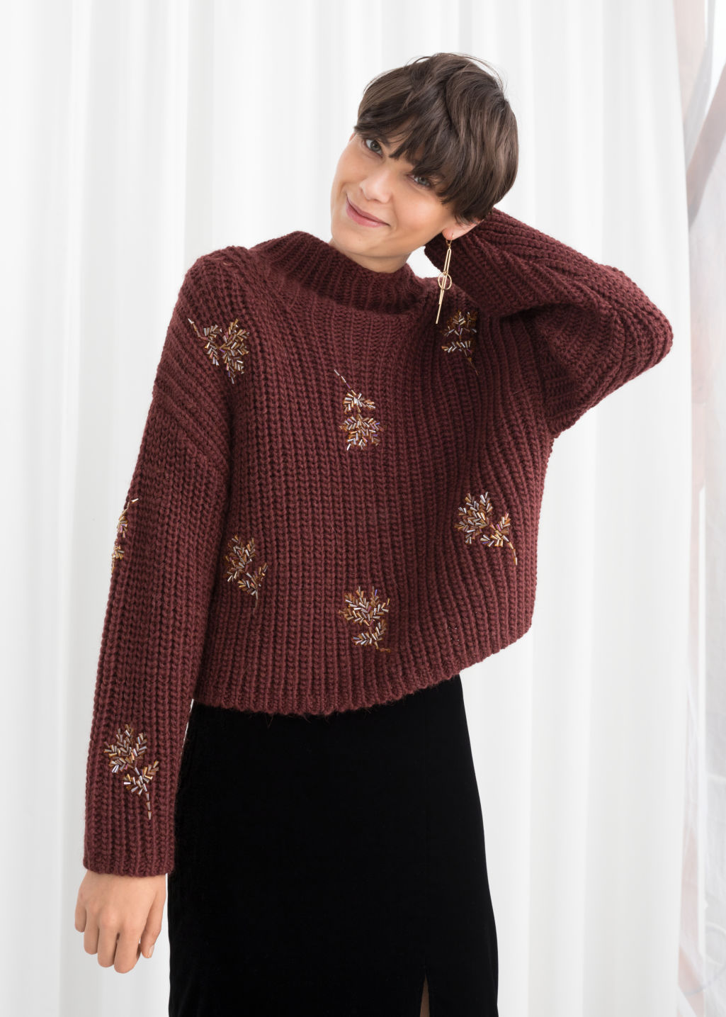 Model front image of Stories beaded floral knit sweater in red