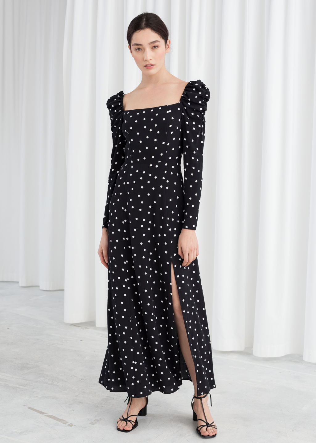0c5ddd22b73ad Model front image of Stories ruched floral maxi dress in black ...