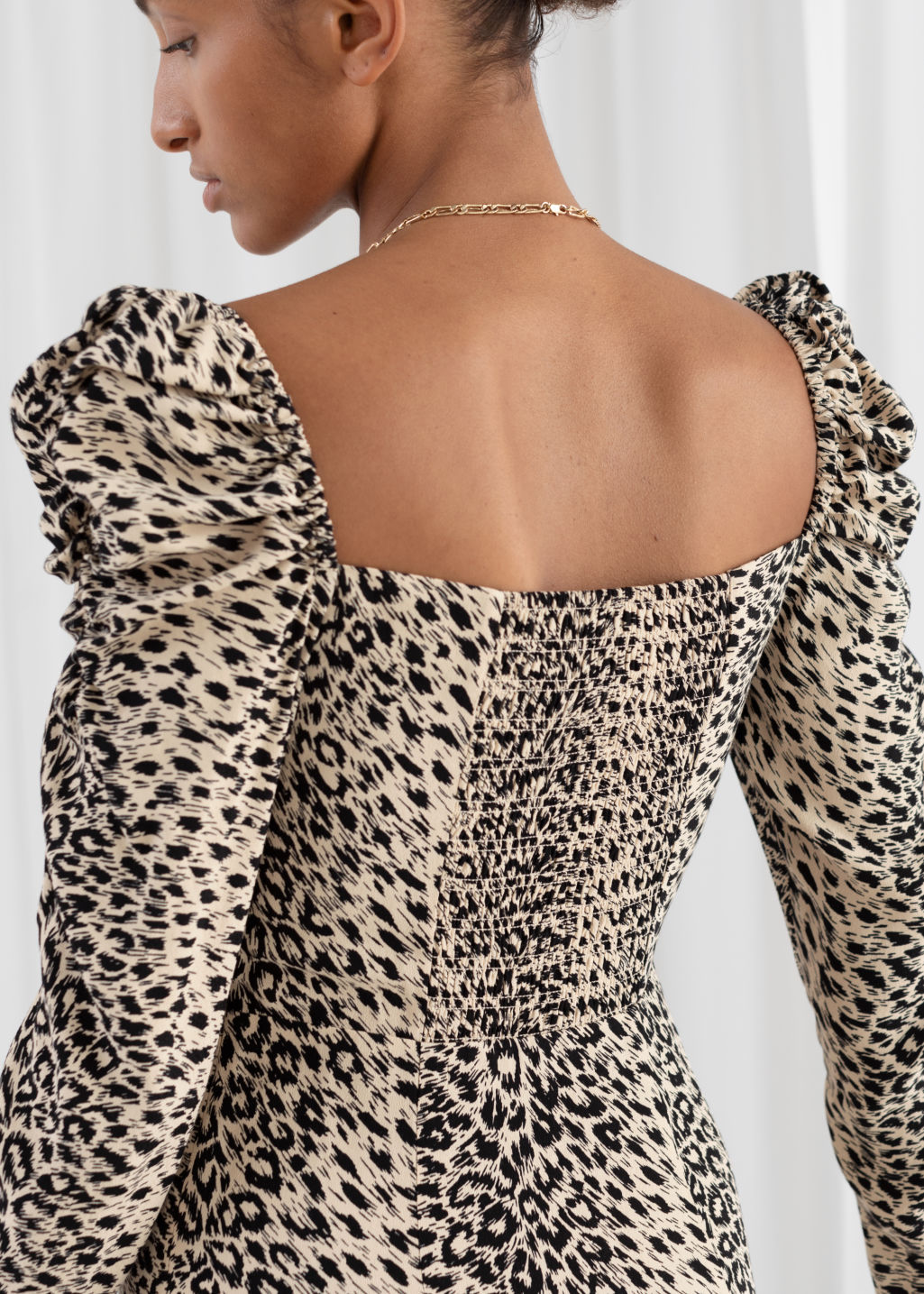 Model back image of Stories ruched maxi dress in beige