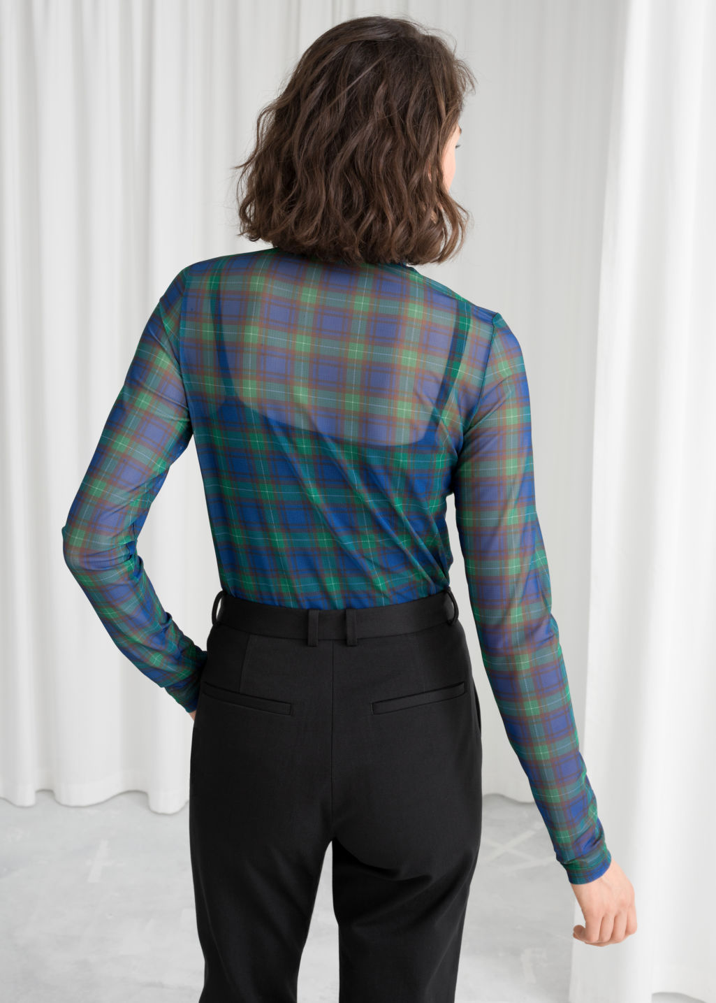 b369efa4132c2c Sheer Mesh Plaid Turtleneck - Plaid - Long Sleeve Tops -   Other Stories