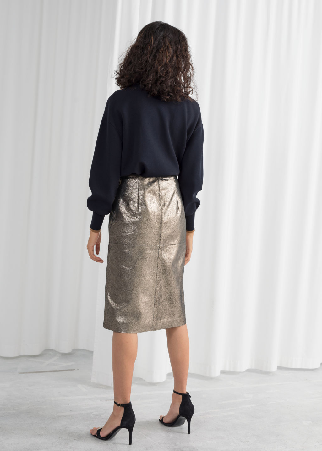 Model back image of Stories metallic leather pencil skirt in black