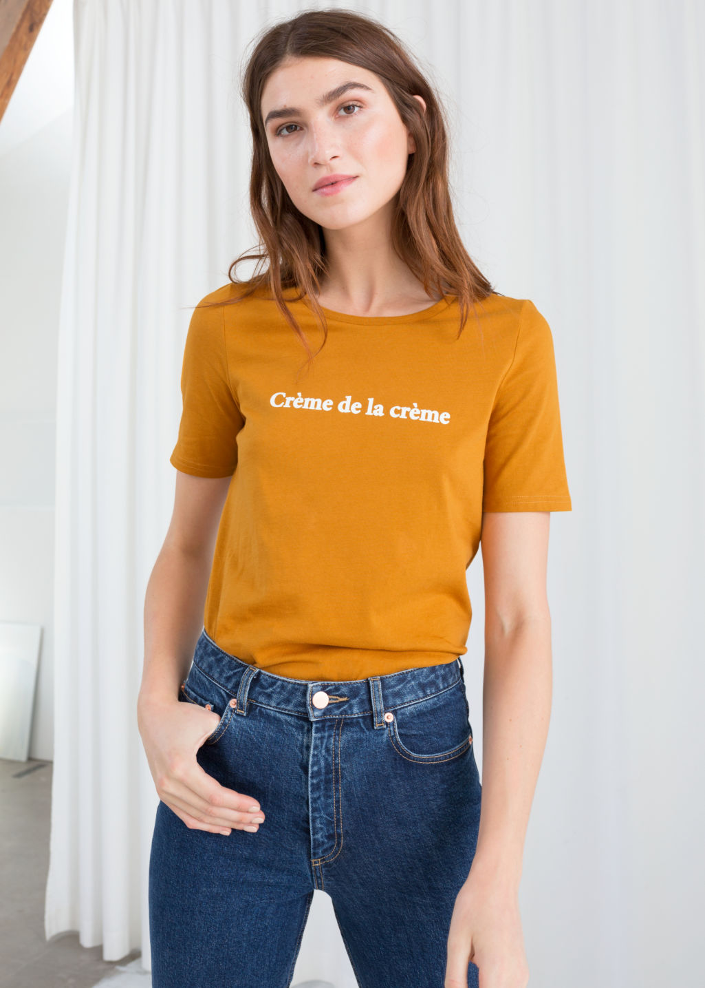Model front image of Stories crème de la crème tee in yellow