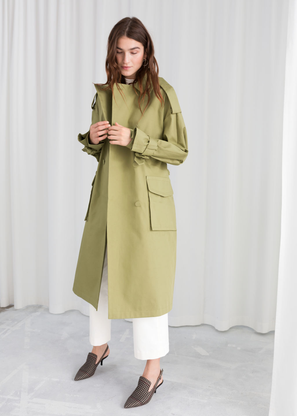Model back image of Stories oversized belted trenchcoat in beige