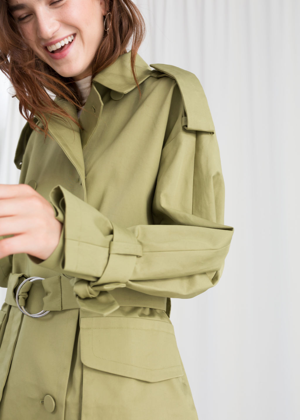 Model front image of Stories oversized belted trenchcoat in beige