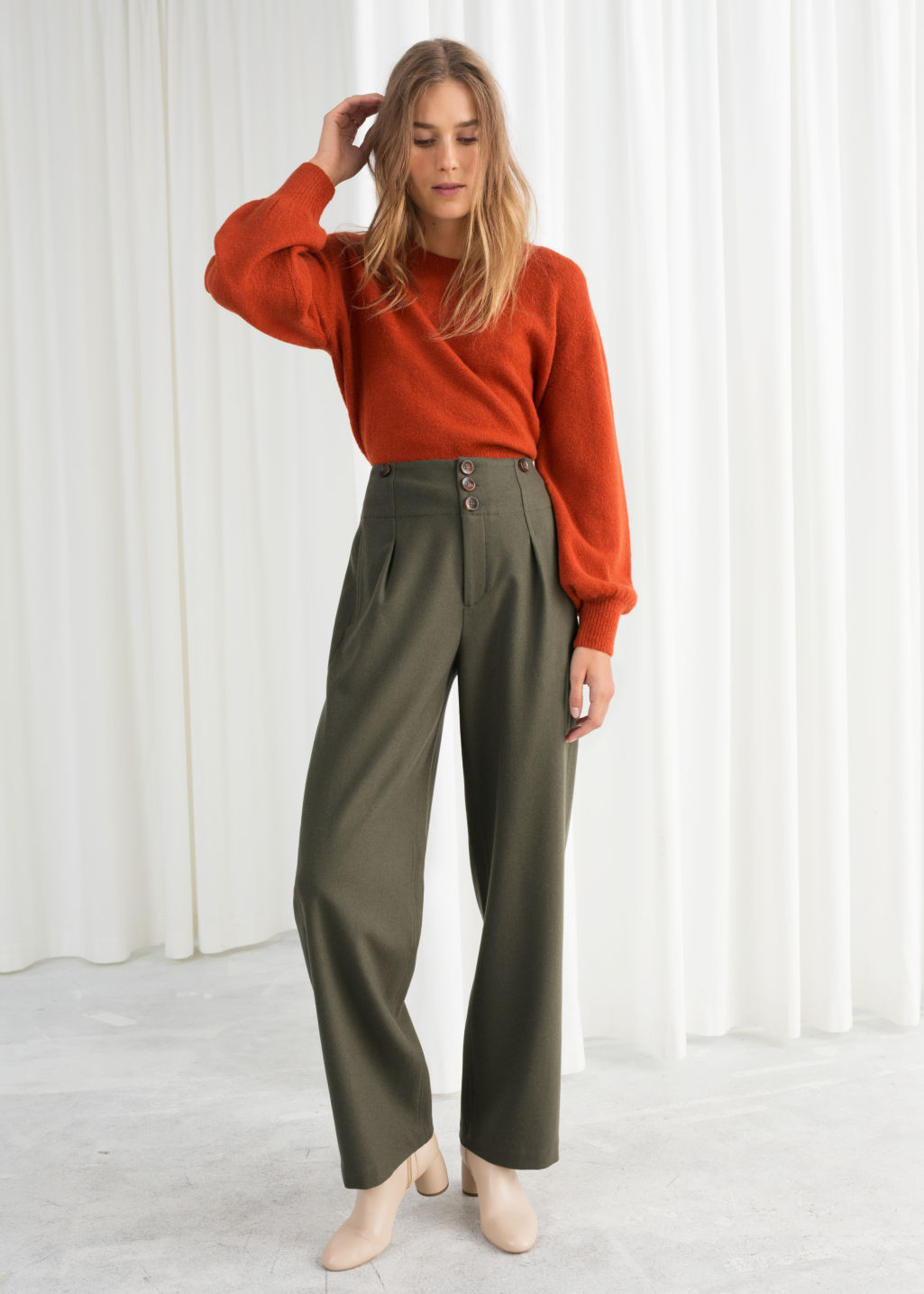 Model front image of Stories wool blend workwear trousers in green