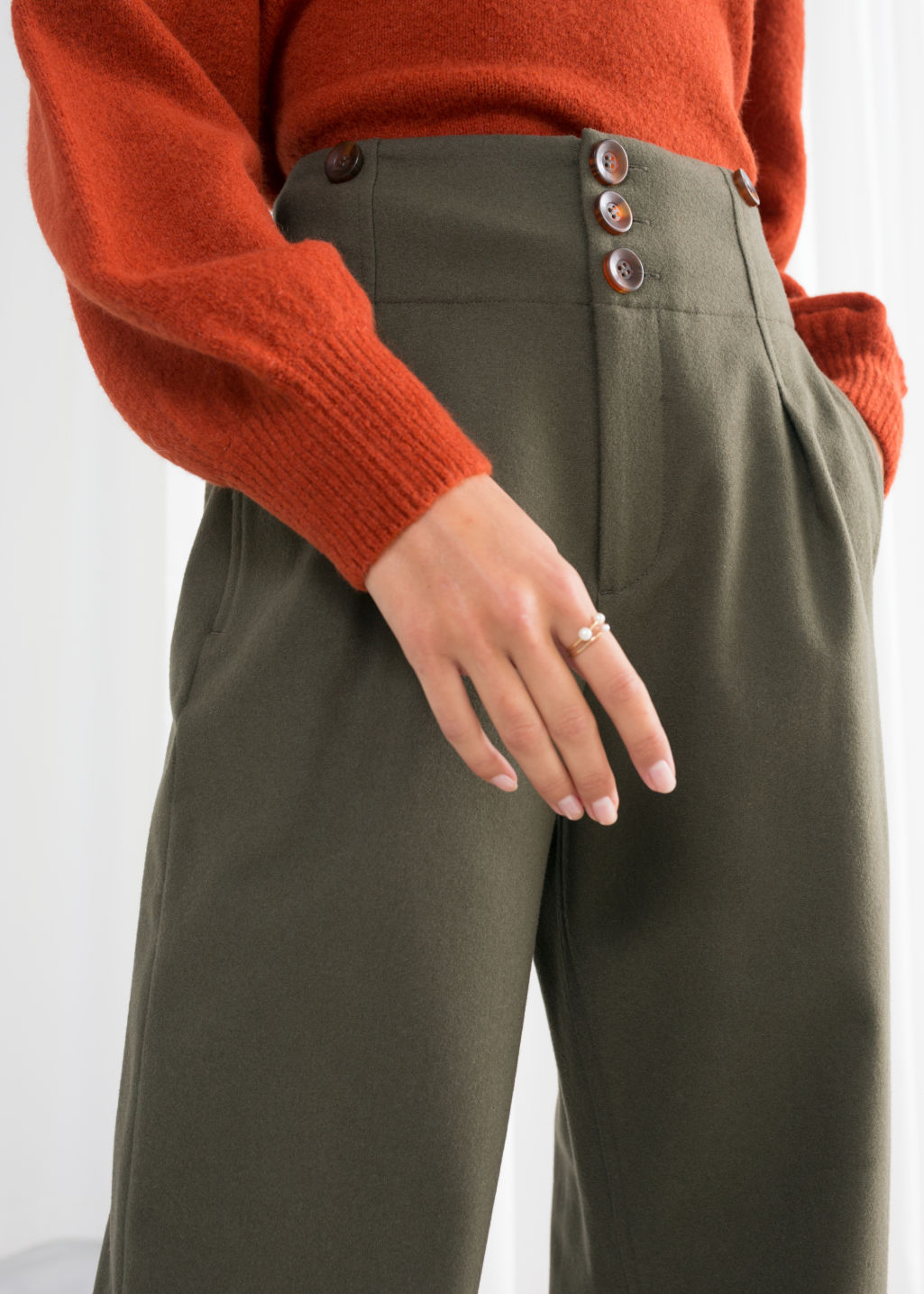 Model back image of Stories wool blend workwear trousers in green