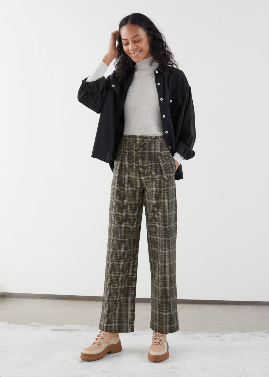 Model front image of Stories wool blend workwear trousers in black
