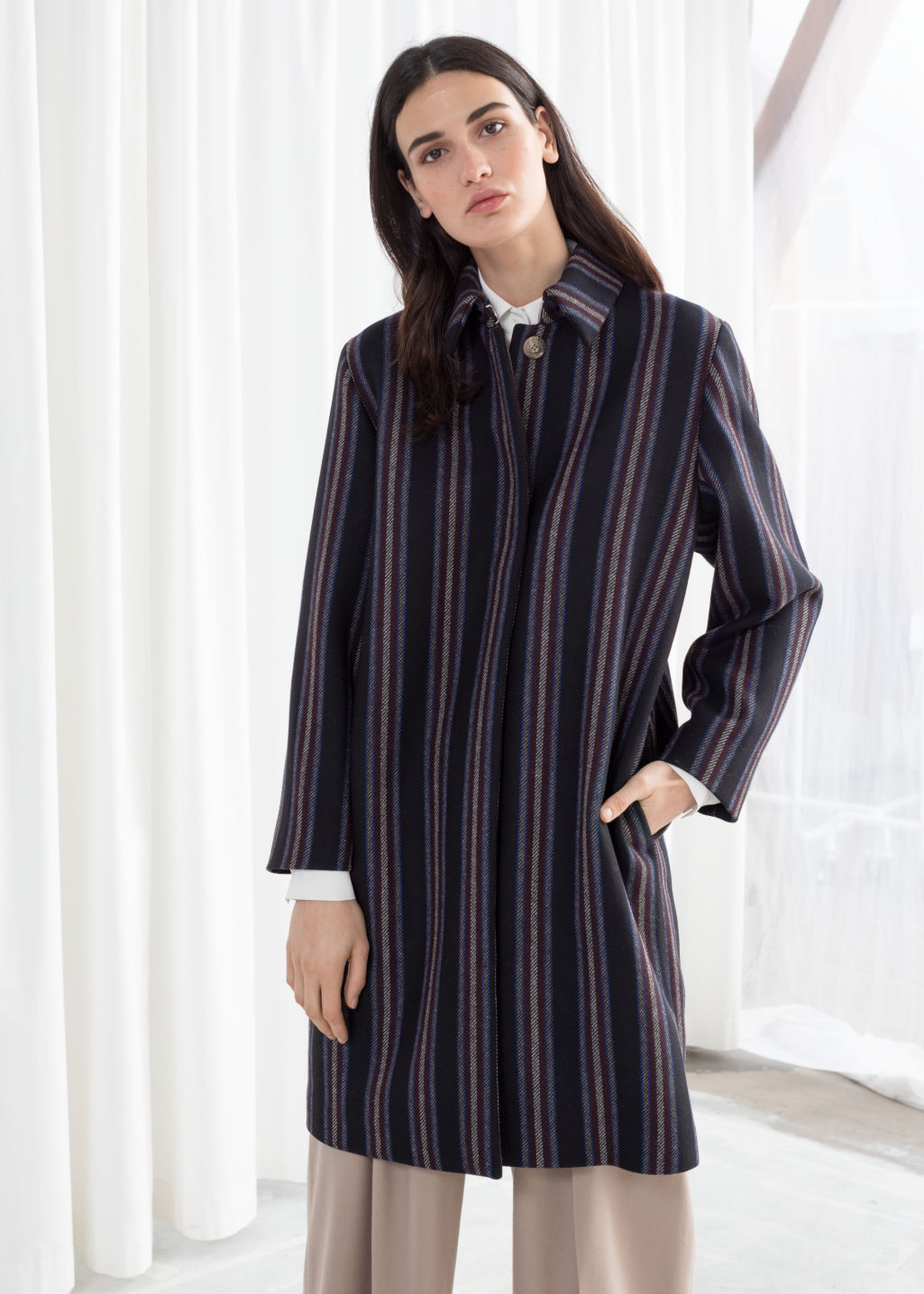 Model front image of Stories wool blend striped coat in black